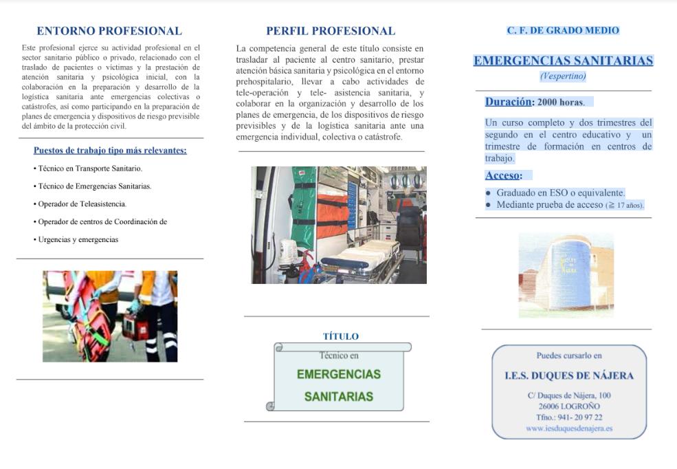 DUQUES DE NAJERA TÉCNICOS DE EMERGENCIAS